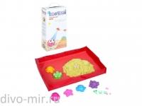 Космический песок 2 кг. Песочница+Формочки Жёлтый (коробка)